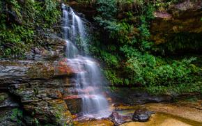 водопад, лес, деревья, скалы, природа