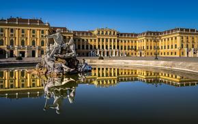 Schonbrunn Palace, Vienna, Austria, Schonbrunn Palace, Vienna, Austria, palace, FOUNTAIN, sculpture, water, reflection