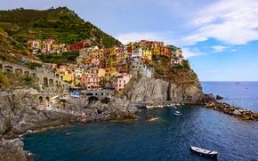 Manarola, Cinque Terre, Italy, Ligurian Sea, Manarola, Cinque Terre, Italy, Ligurian Sea, Rocks, sea, building, landscape, panorama, Boat, coast
