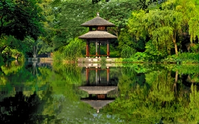 China, China, park, lake, pond, arbor, reflection