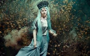 ragazza, regina, incoronare, capelli blu, cespuglio, stile
