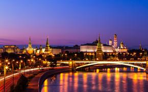Москва, Россия, Москва-река, Большой Краснохолмский мост, Кремль, набережная, река, мост, ночной город