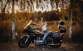 девушка, джинсы, мотоцикл, Honda, берёзы, деревья, стиль