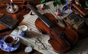 violin, music, Books, glasses, Flowers, Roses, tea, watch, candle, Vintage, still life