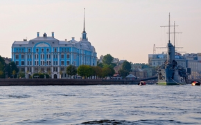 petersburg, Russia, The cruiser Aurora, cruiser, Aurora, Nakhimov Naval School, Petrogradskaya Embankment, Big Nevka, river, embankment, museum, building