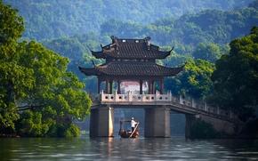 China, China, river, bridge, Pavilion, boat, trees