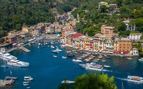 Portofino, Liguria, Italia, Ligurian Sea, Portofino, Liguria, Italy, bay, Ligurian Sea, Yacht, boats, Boat, panorama, sea, harbor, port, building