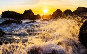 закат, море, скалы, брызги, пейзаж
