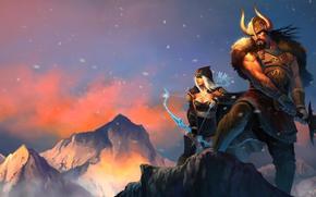 League of Legends, ashe y Tryndamere, Espada, vikingo, chica, montañas