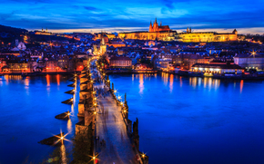 Czech Republic, Prague, Vltava river, sunset