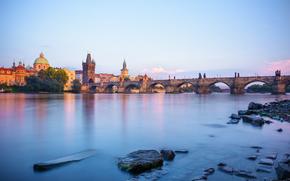 Czech Republic, Prague, Vltava river, sunset
