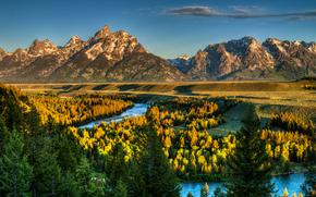 Parque Nacional Grand Teton, Wyoming, río, Montañas, árboles, paisaje