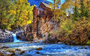 Crystal Mill, Colorado, водопад, водоём, осень, деревья, пейзаж