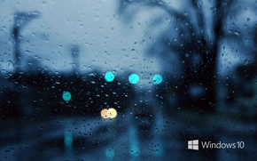 windows 10, wallpaper, rain, drops, evening, wallpapers