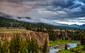 river, forest, trees, CLOUDS, Colorado
