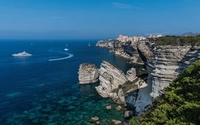 Bonifacio, Korsika, Frankreich, Mittelmeer, Bonifacio, Korsika, Frankreich, Mittelmeer, Küste, Rocks, Meer, Yacht