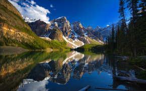 Moraine Lake, Banff National Park, Alberta, Canada, Valley of the Ten Peaks, Moraine Lake, Banff, Alberta, Canada, Valley of Ten Peaks, Mountains, lake, trees, reflection