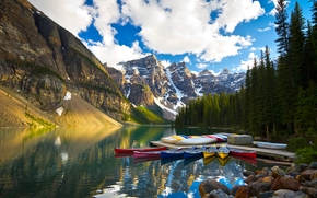 Moraine Lake, Banff National Park, Alberta, Canada, Valley of the Ten Peaks, Moraine Lake, Banff, Alberta, Canada, Valley of Ten Peaks, Mountains, lake, wharf, Boat, canoe, trees, reflection