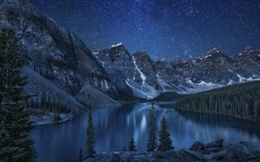lago, Montanhas, floresta, árvores, paisagem, noite, papel de parede, papel de parede