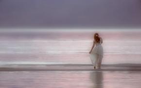 рыжая, рыжеволосая, платье, океан, настроение