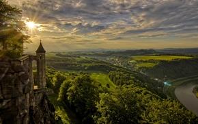 Königstein, Saxony, Germany, Königstein Fortress, Elbe River, Königstein, Saxony, Germany, Königstein Fortress, Elbe River, sunset, field, river, panorama