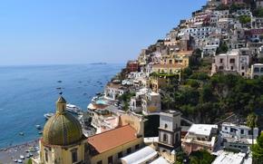 Positano, Campania, Italy, Amalfi Coast, Gulf of Salerno, Позитано, Кампания, Италия, Амальфитанское побережье, Салернский залив, море, залив, побережье, здания, лодки, пейзаж