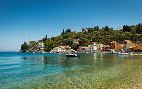 Longos, Paxos, Greece, Ionian Islands, Ionian Sea, Longos, Paxos, Greece, Ionian Islands, Ionian Sea, town, sea, coast, BOAT