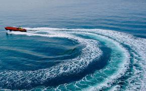 фотокартина, печать на холсте на заказ Украина ArtHolst Gulf of Lion, Лионский залив, море, катер, след