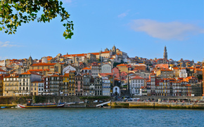 Vila Nova de Gaia, Porto, Portogallo, Fiume Douro, Vila Nova de Gaia, Porto, Portogallo, Fiume Douro, terrapieno, costruzione, fiume