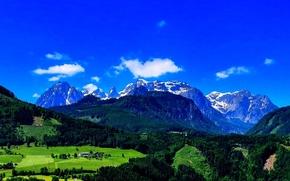 Montagne, campo, alberi, paesaggio