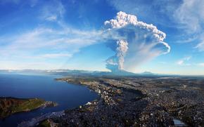 miasto, wulkan, eksplozja, krajobraz