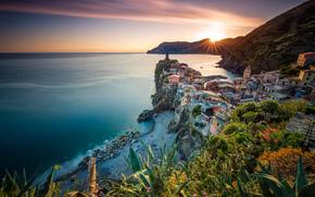 Vernazza, Cinque Terre, Liguria, Włochy, Morze Liguryjskie, Vernazza, Cinque Terre, Liguria, Włochy, Morze Liguryjskie, morze, wybrzeże, zachód słońca, panorama