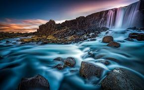 Oxararfoss, Oxara river, Arnessysla, iceland, Öxarárfoss, River Öxará, Iceland, waterfall, wall, river, stones