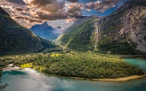 Vikane, Sogn og Fjordane, norway, Vikan, Sogn og Fjordane, Norway, valley, Mountains, lake, clouds, panorama