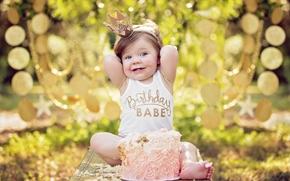 ragazza, compleanno ragazza, compleanno, torta, incoronare, principessa, stato d'animo