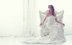 bride, Wedding Dress, dress, chair, style