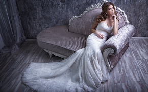 bride, Wedding Dress, dress, sofa, mood, style