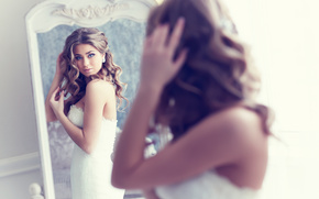 bride, mirror, reflection, view