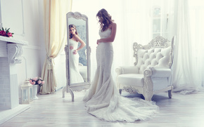 bride, Wedding Dress, dress, mirror, reflection, chair, style