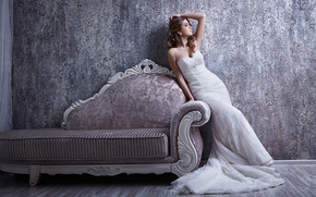 bride, Wedding Dress, dress, pose, sofa, style