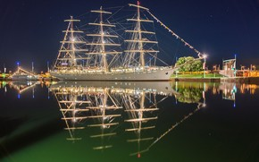 Dar Młodzieży, Bremerhaven, Germany, Weser River, Gift of Youth, Bremerhaven, Germany, River Weser, frigate, sailfish, river, reflection