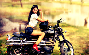 shorts, boots, helmet, motorcycle, girl, bike, Triumph