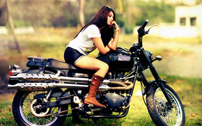 girl, shorts, Boots, motorcycle, bike, Triumph, Triumph Scrambler, Triumph Scrambler 900