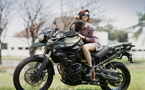 girl, Asian, shirt, glasses, boots, motorcycle, Triumph