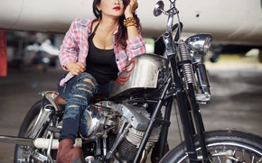 girl, Asian, pose, jeans, torn, boots, Bracelets, motorcycle, bike