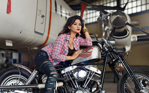 girl, Asian, shirt, jeans, torn, plane, motorcycle, bike, hangar