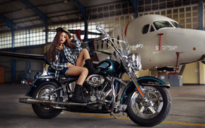 girl, Asian, feet, shorts, boots, shirt, hat, hair, makeup, plane, motorcycle, bike, Harley-Davidson, hangar