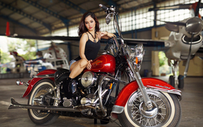 girl, Asian, plane, motorcycle, bike, Harley-Davidson, hangar