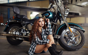 girl, Asian, boots, shirt, hat, hair, makeup, plane, motorcycle, bike, Harley-Davidson, hangar