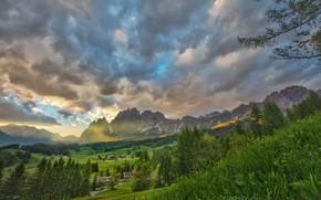 Dolomites, Italy, закат, горы, деревья, пейзаж